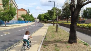 Child enjoying cycle tracks